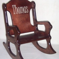 Kids Wooden Rocking Chair Oxblood Leather Wing Personalized Cherry Finish