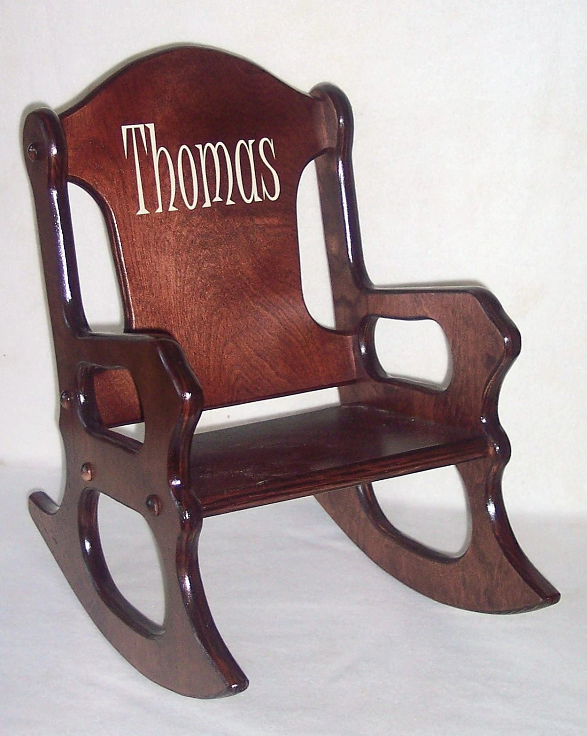 Personalized Chairs Wooden Kids Rocking Chair Personalized Cherry Finish