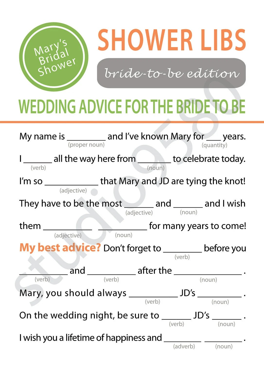 Printable Mad Libs Bridal Shower Game By Elinicdesigns On Etsy
