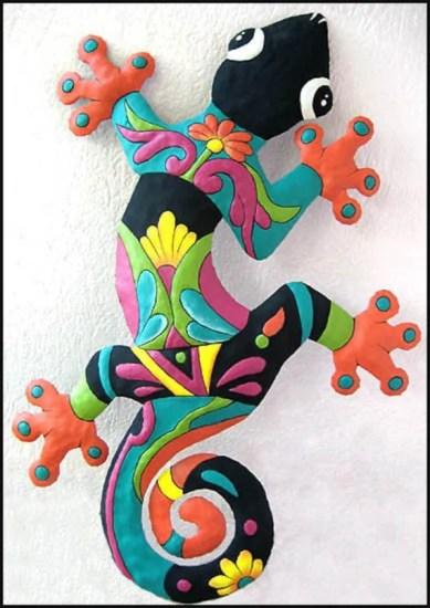 Painted Gecko Metal Wall Art