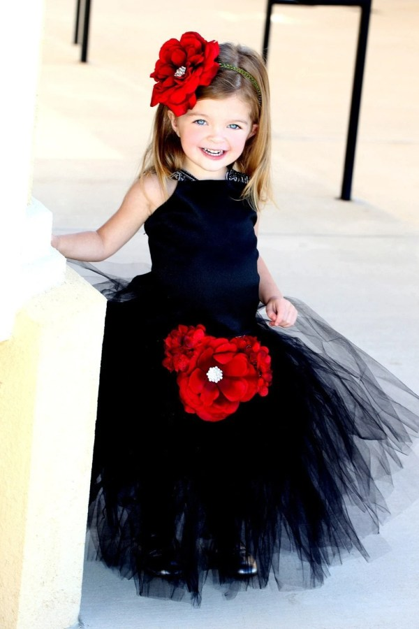 Black Tutu Flower Girl Dresssatin Corset Top With Sequined