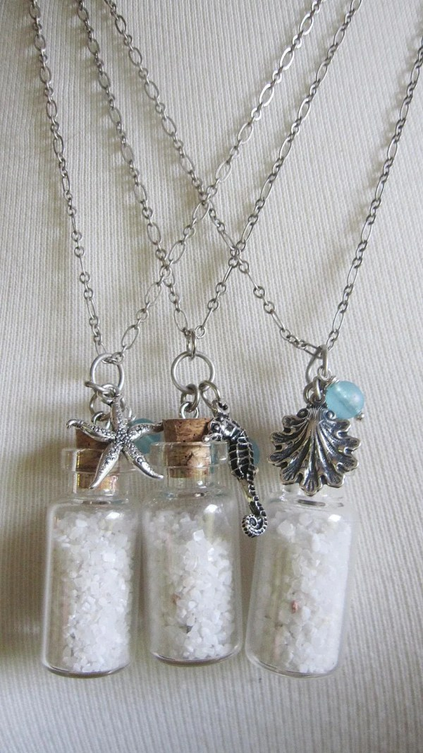 Sand Bottle Necklace Silver Starfish Charm