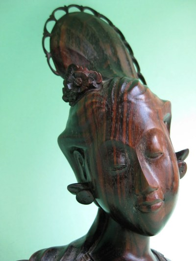 Vintage Bali Carved Wooden Bust of Beautiful by ...