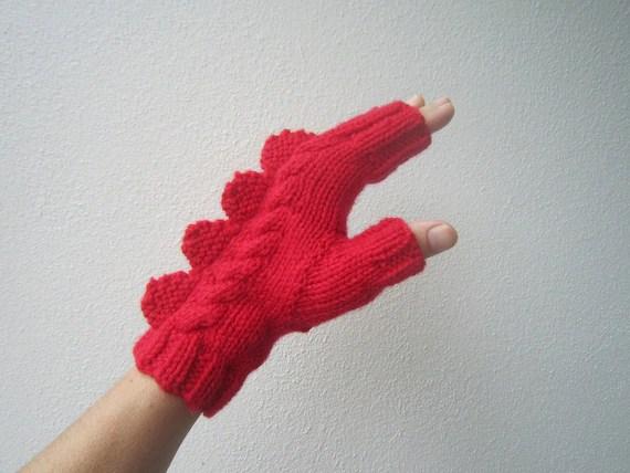Red dragon, dinosaur or monster fingerless mittens for large female adult's hand. Soft Australian pure wool