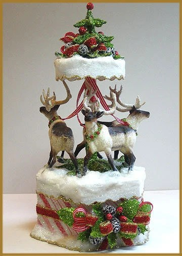 Items similar to CandyStriped Reindeer Carousel Cake