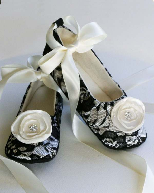 Black Lace Toddler Shoes Colors Baby Flower Girl Ballet