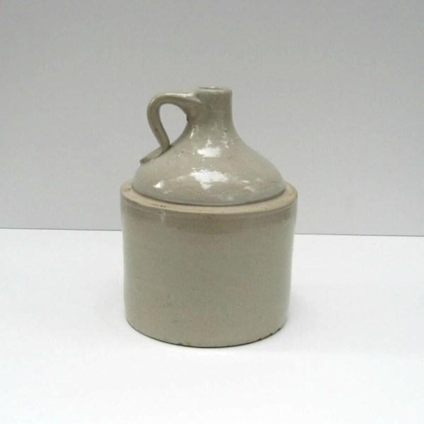 White Stoneware Whiskey Jug Crock Primitive Rustic Decor