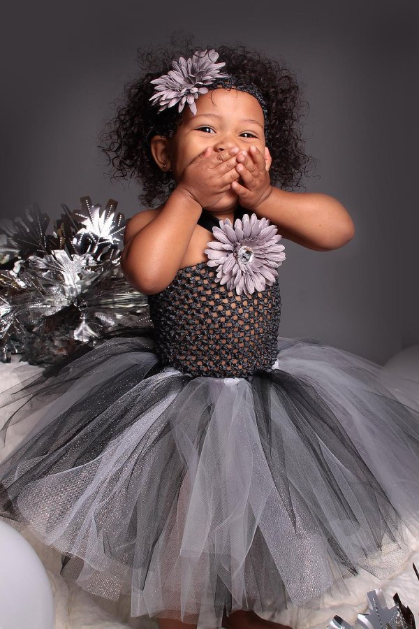 Girls Tutu Dress Charcoal Gray Glimmer Tulle 3-18 Months Black