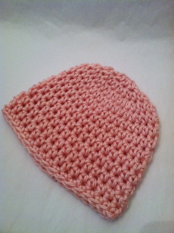 Newborn Baby Girl's Crochet Beanie in Dusty Rose, Pink, Photography Prop, Baby Girl Hat, Cozy Baby Hat