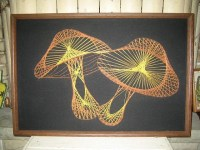 Vintage 70s mushroom string art picture / wall decor hanging