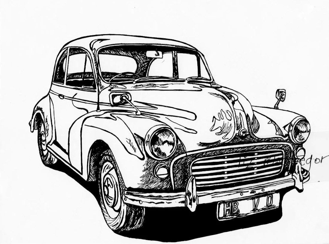 Classic MINI Cooper Sports Car / Car Drawing / Wall Decor