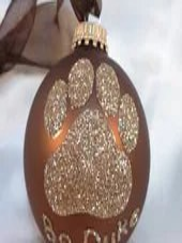 Dog Paw Print Glitter Ornament - Personalized Pet Doggie Glass Ball Ornament - Chocolate Brown Ornament - GlitterOrnaments