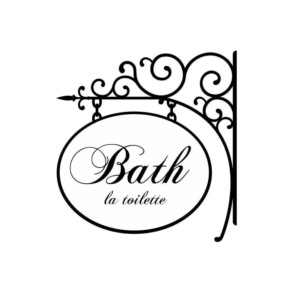 Bathroom Wall Decal with Wrought Iron Design Bath by wallartsy