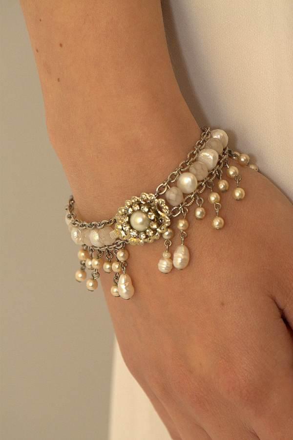 Bridal Bracelet Pearls Wedding Rhinestone Vintage