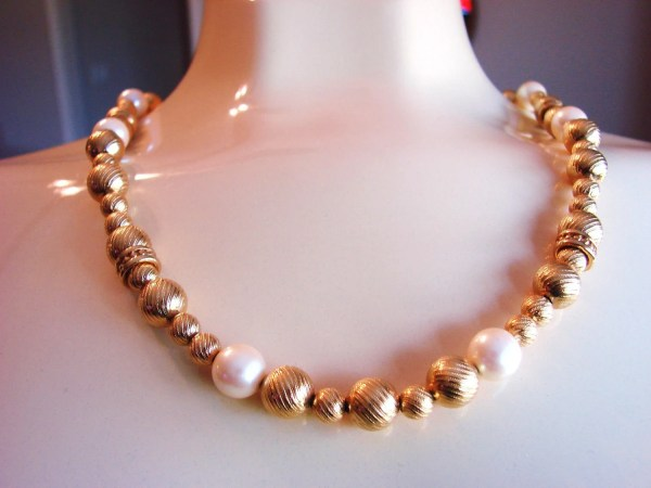 80s Monet Textured Gold Plate Bead Faux Pearl Necklace