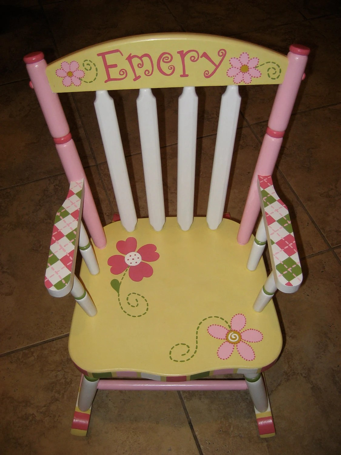 personalized rocking chair for toddlers wooden lounge plans hand painted child 39s by hughese