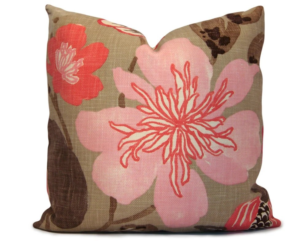 Items similar to Floral Pillow Cover in Pink Coral Taupe