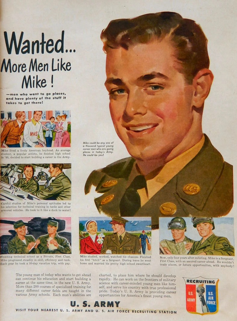 I want MIKE Army Recruiting Ad from 1950 armed forces