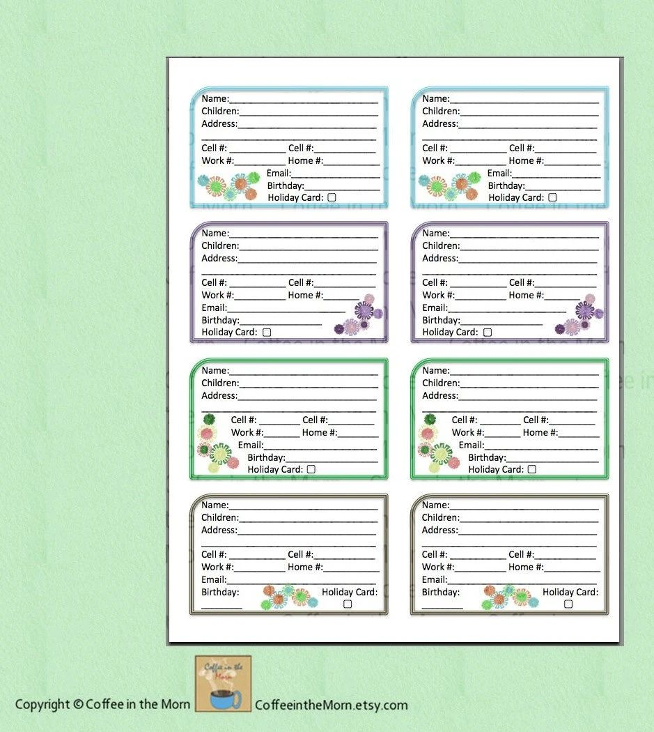 telephone contact list template