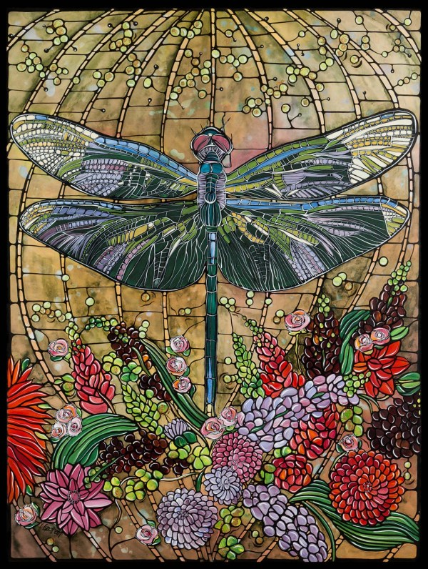 Dragonfly Art Nouveau Painting