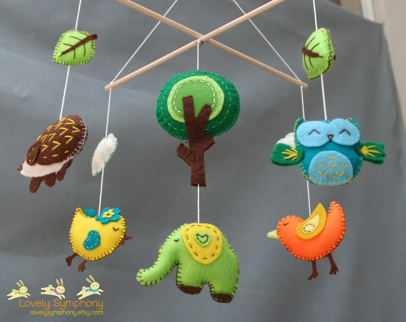 Forest Baby Mobile Animals Baby Mobiles Spring Hanging