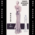 Vintage sewing pattern 1930 s evening or wedding gown in any size
