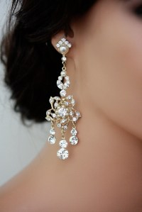 Gold Chandelier Bridal Earrings Gold Wedding by LuluSplendor