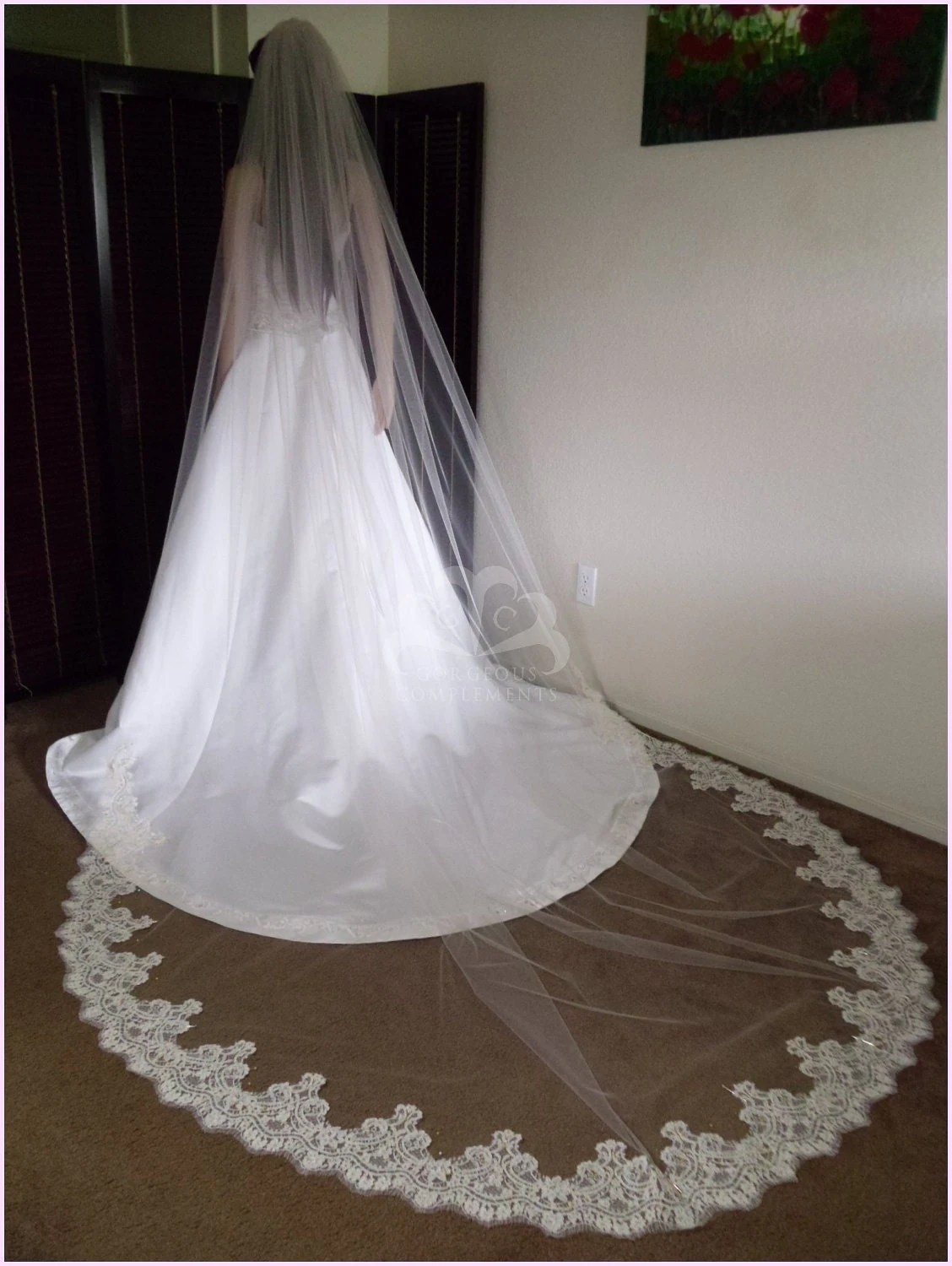 Ivory Cathedral Wedding Veil with Vintage Alencon Lace on