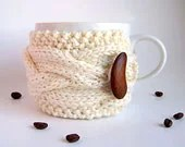 White Coffee Cozy, Cup Cozy - Autumn Harvest Fall Nature Earth Eco-Friendly Bride Wedding - theteam oht - natalya1905