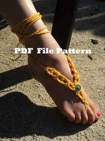 Crochet Pattern Sungold Barefoot Sandals