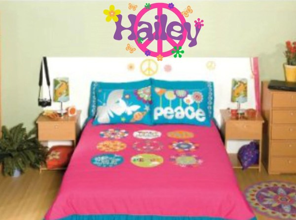 Peace Sign Decal Girl Wall Retro Flowers Set