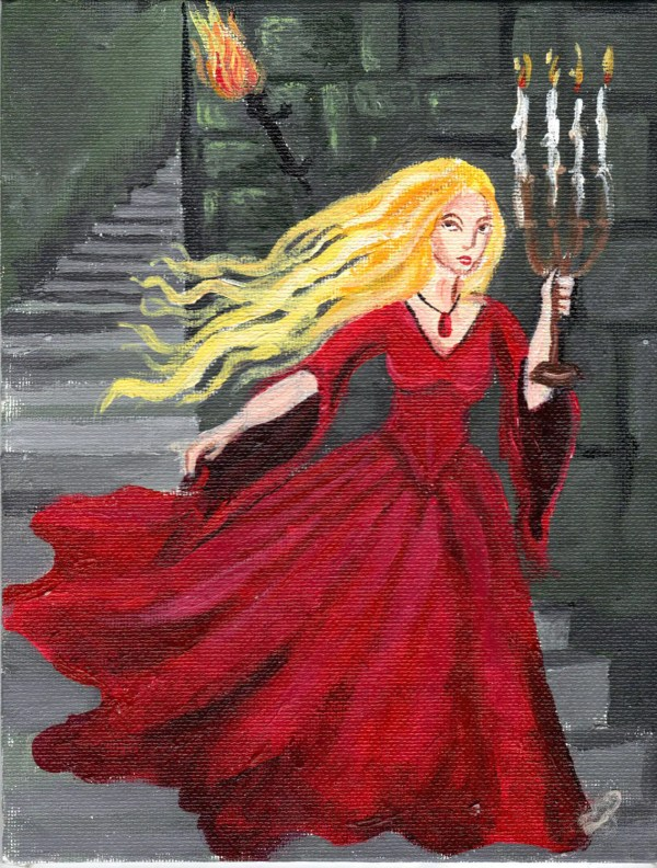 Gothic Horror Art Haunted Castle Heroine Crimson Gown