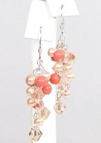 Blush Peach & Coral Mini Chandelier Earrings for by bonitaj