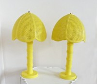 Pair Vintage Yellow Lamps Table Bedside Lamp Plastic Faux