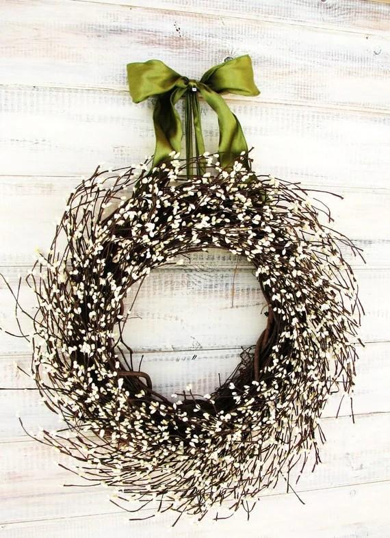 VICTORIAN COUNTRY COTTAGE-Christmas Wreath-White Berry Wreath-Rustic Home Decor--Scented Vanilla Sugar-Choose Scent & Ribbon Color - WildRidgeDesign