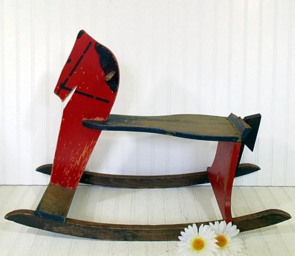 Antique Large Wooden Red Rocking Horse Vintage Divineorders