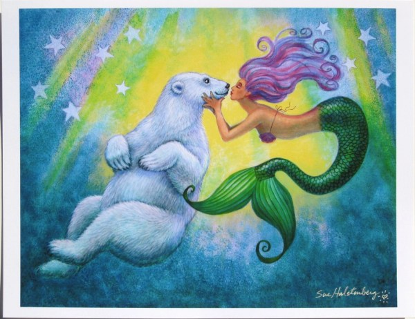Mermaids Polar Bear Kiss Mermaid Art Fantasy Poster Print Of