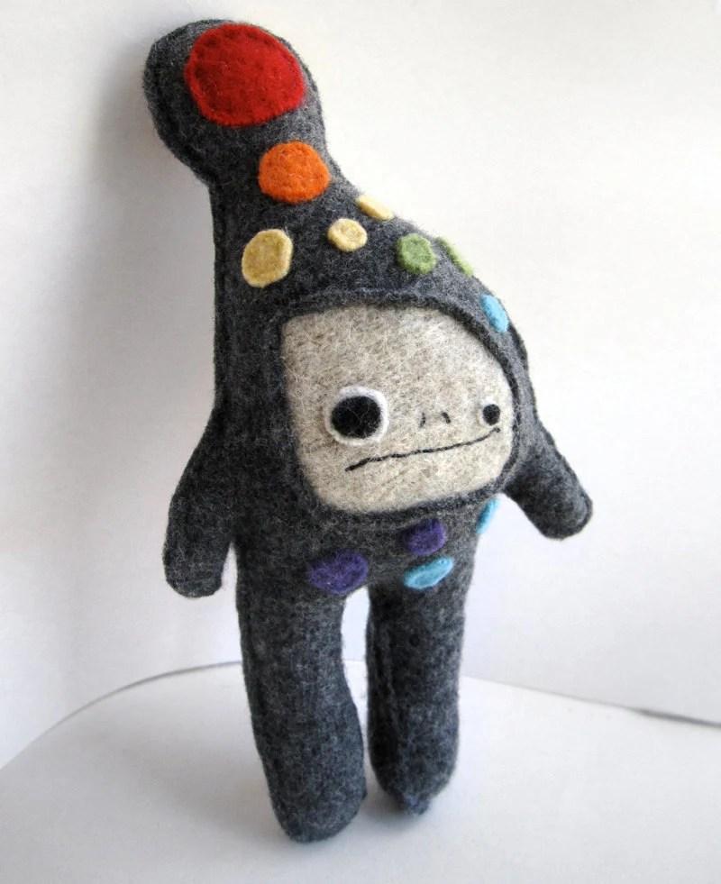 Gray and Rainbow Dot Strange Foo - Recycled Wool Plush Toy - sighfoo