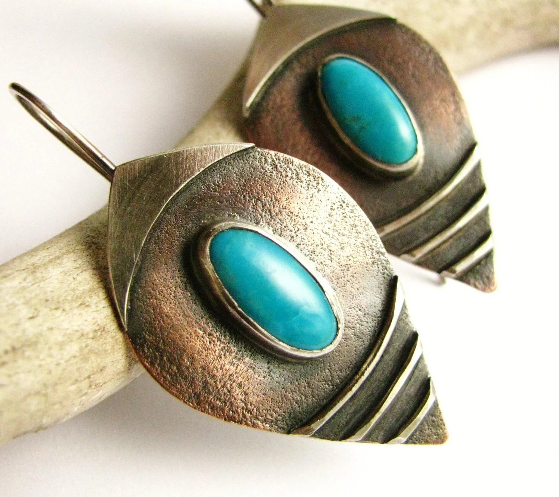 Tribal Sterling Silver, Copper, Kingman Turquoise Earrings Tribal Bohemian Artisan Jewelry Mixed Metal And Stone Shield Earrings