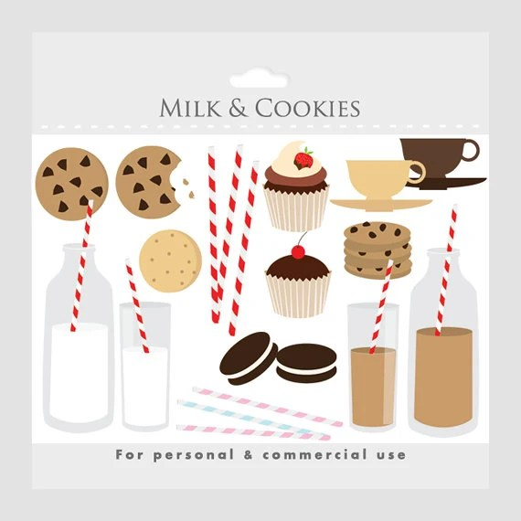milk and cookies sweets clipart