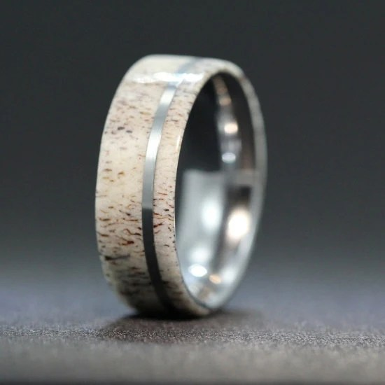 Titanium Ring Inlaid With Deer Antler By Jewelrybyjohan On