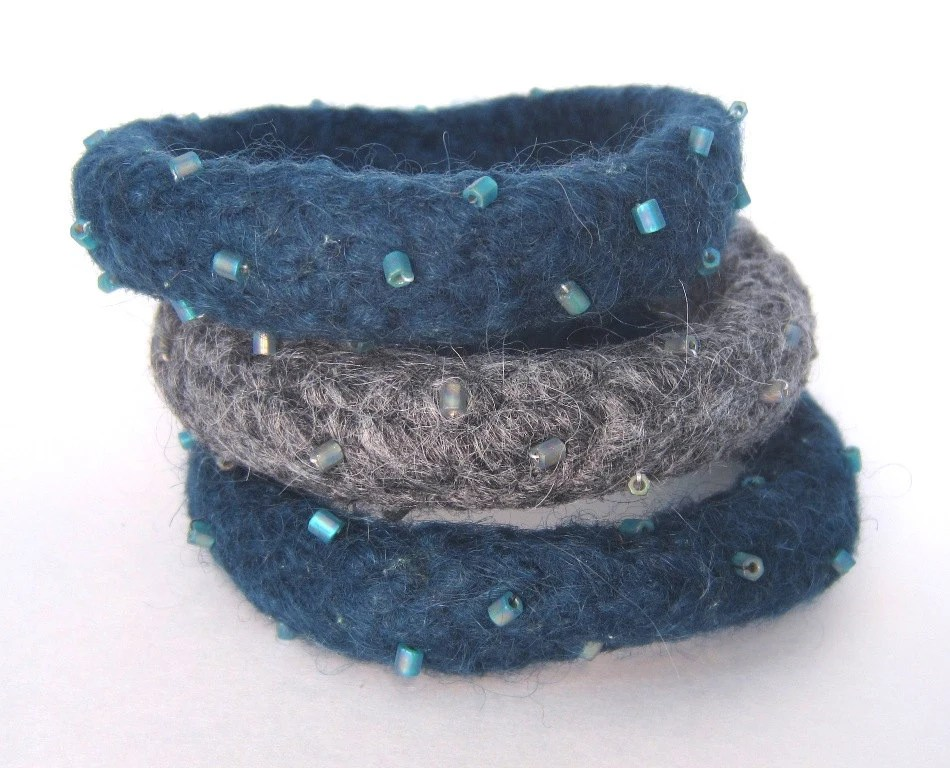 Knitted, Felted and Beaded Deep Sea Blue Teal and Gray Bangle Bracelets -- Don't go wacko