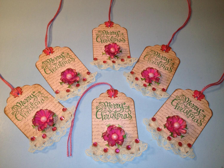 Shabby Chic Christmas Pink Christmas Gift Tags