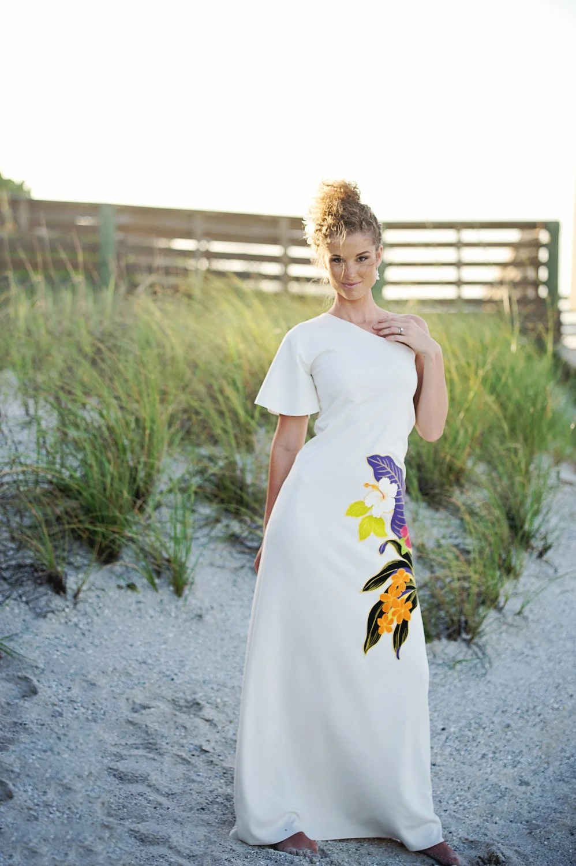 Hawaiian Wedding Dress One Shoulder was 59900 now 39900