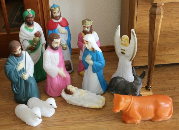 Vintage Empire Nativity Set Outdoor Light Blow Mold 12 Pc