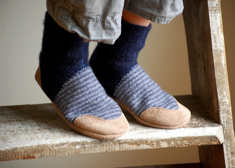 Kids Wool Slippers Toddler Slipper Socks Leather Soles size