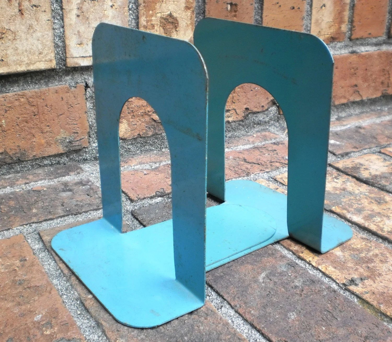 Vintage Bookends Industrial Metal Retro Library Chic Pair Midcentury Modern Minty Aqua Green Farmhouse - VintageCarolina