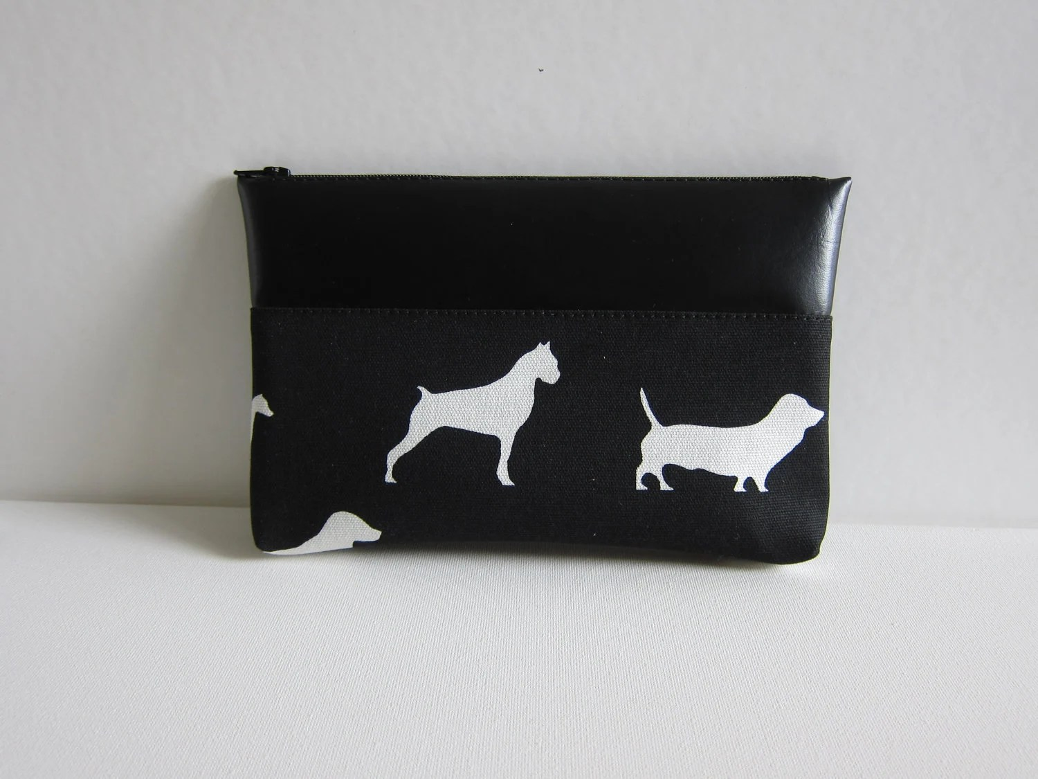 SALE - Clutch in A Walk in the Park Print, Black - Ready to Ship - BewbewDesigns
