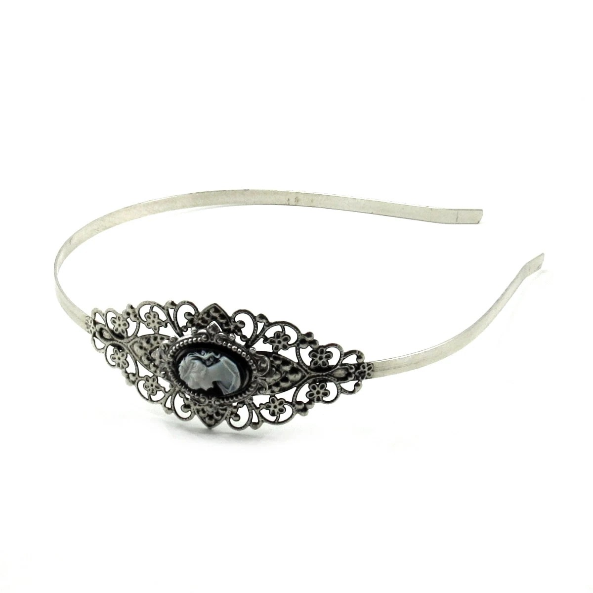 Gothic Lolita Neo Victorian Cameo Headband With White On Black
