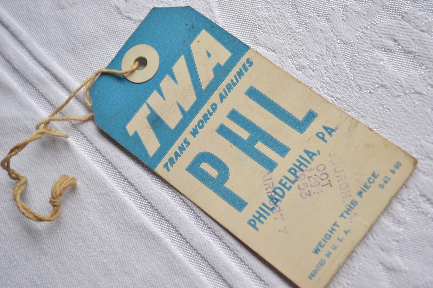 Vintage TWA Airlines Luggage Tag - Philadelphia, PA - PHL 1953 - pumpkintruck